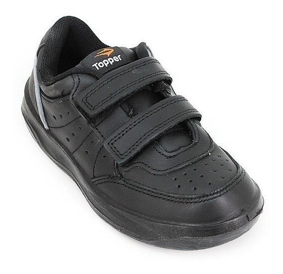 Zapatillas Topper Xforcer Escolar Negro Velcro +envío Gratis