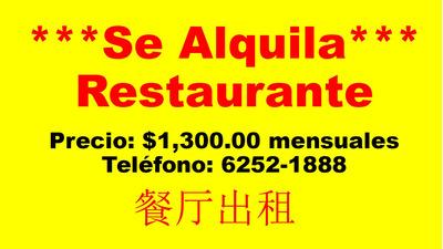 Se Alquila Restaurante Paz De Oriente