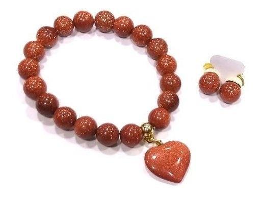 Pulseira + Brincos C Pedra Do Sol Goldstone Bons Fluídos G1