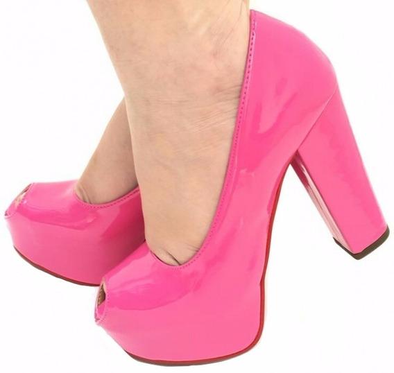 Sapato Peep Toe Meia Pata Salto Alto Grosso Verniz Pink Rosa