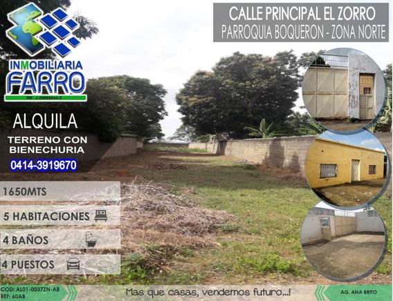 Alquiler De Terreno Con Casa En Boqueron Al01-0037zn-ab