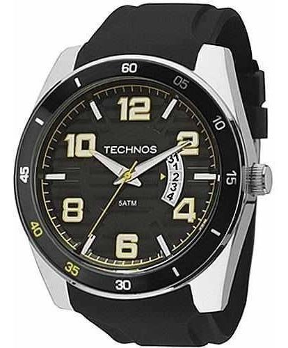 Relógio Masculino Technos Pulseira Em Resina | Silicone Preto Ref. - 2115ksr/8y 46mm