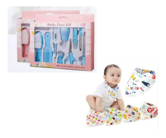 Kit Higiene E Cuidados P/bebe 10 Pcs + 10 Babadores Bandana + Brinde