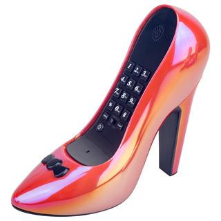 Telefone Com Fio Sapato Salto Alto Funcionamento Vermelho