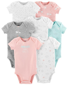 Kit 7 Bodys Carters Curtos Rosa