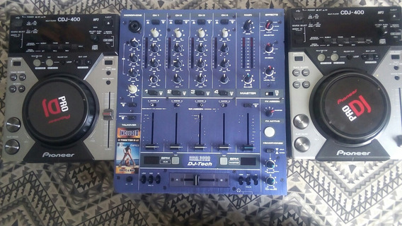 2 Cdj 400 + Mixer 4 Canais Hi Tech