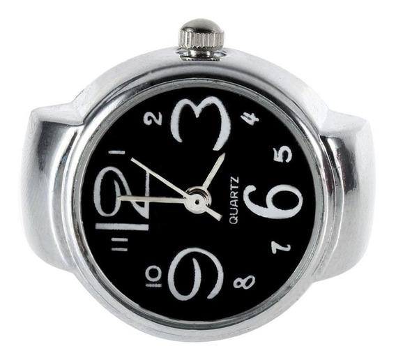 Único De Aço Redondo Elástico Quartzo Anel De Dedo Relógio S