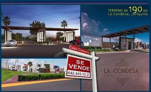 Se Vende Estupendo Terreno En La Condesa Juriquilla, 190 M2, De Oportunidad.