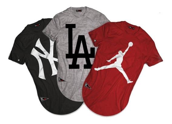 Kit 3 Camiseta Longa Blusa Longline Camisa La Jordan Ny