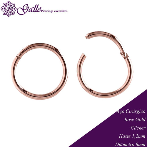 Piercing Clicker Aço Cirúrgico Rose Gold Argola
