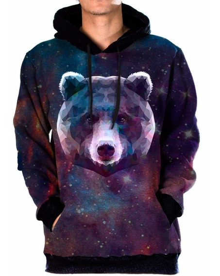 Moletom Bolso Unissex Galaxia Space Swag Tumblr Urso