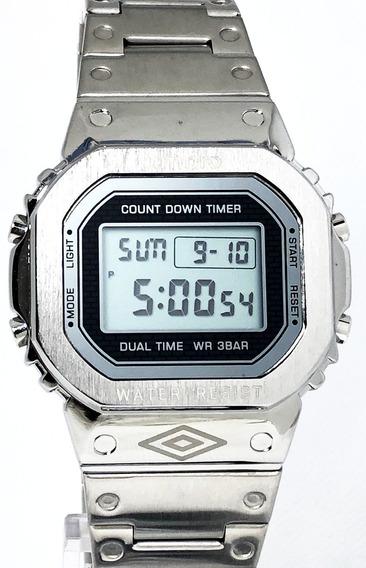 Relógio Digital Umbro Umb-111-s Cromado Nf 5600 Bolsonaro