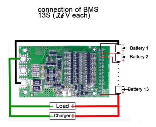 Cargador Bateria Lipo 1-13 Celdas 13s 3.6v 25a  Bms Li-ion