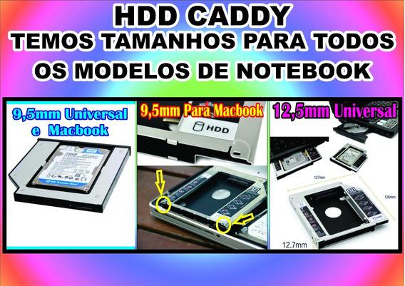 Kit 3 Adaptador Hdd Caddy 12,7mm Ou 9,5mm P/ Mac E Notebook