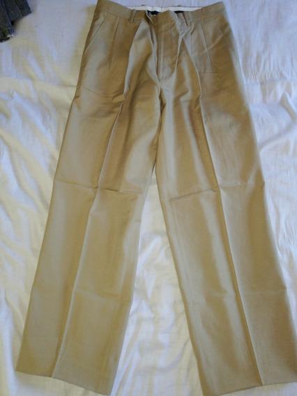 Pantalón De Vestir Pinzado Hombre Talle 40, Beige Tostado