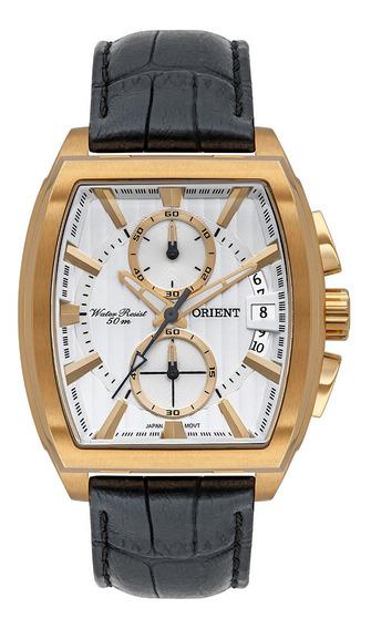 Relógio Masculino Dourado Orient Quadrado Cronógrafo Couro