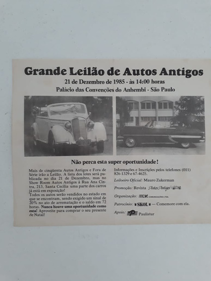 Propaganda Publicidade Antiga Leilão De Carros Antigos 1985
