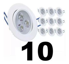 10 Spot Led Branco Luz Quente / Fria Direcionável 3w Gesso