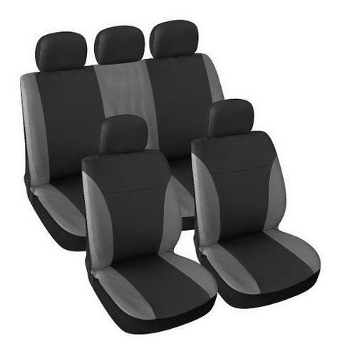 Imagen 1 de 3 de Juego Cubreasientos Universales Auto Camioneta Negro Y Gris