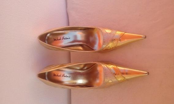 Zapatos Altos Michael Antonio Dorados #37 Nuevos,
