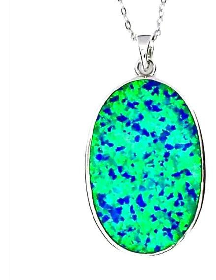 Cadena Y Dije Ópalo Azul Verde Plata Esterlina 925