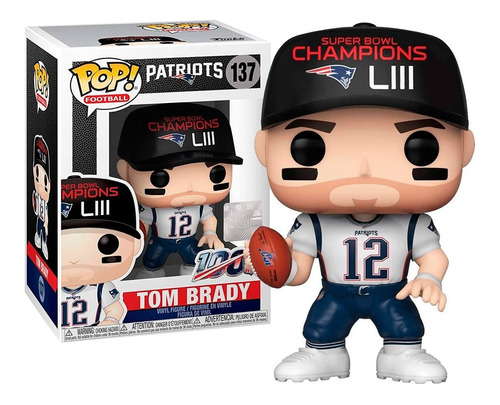 Boneco Funko Pop Football Patriots Tom Brady 137 - Original
