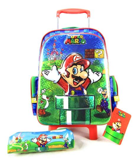 Mochila De Rodinha Super Mario 3d Com Estojo Kit Dmw 11166