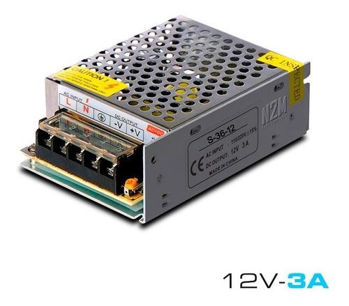Imagen 1 de 10 de Fuente 12v 3a Metalica Regulada Switching Tira Led Cctv Full