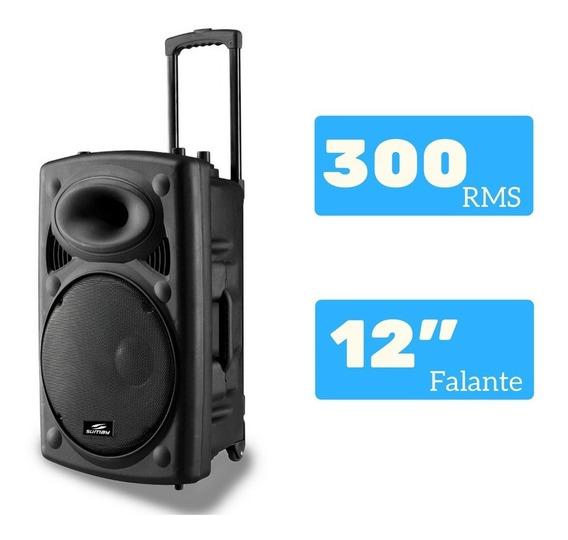 Caixa De Som 2 Microfones Amplificada Bluetooth