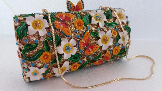 Bolsa Clutch Feminina Festa ,flores Strass Cristal Luxo