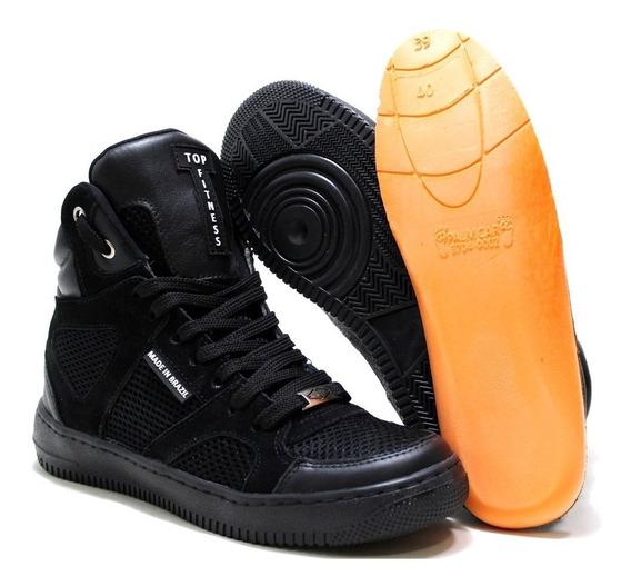 Tenis Sneaker Cros Fit Botinha Original Academia Couro Promo