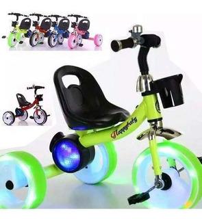 Triciclo Para Niños Correpasillos Con Luces Led Y Música