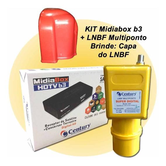 Receptor Midiabox B3 Lnbf Multiponto Super Digital Capa Lnbf