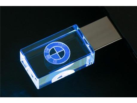 Pen Drive 32gb Cristal Led Bmw Azul + Caixa Portátil