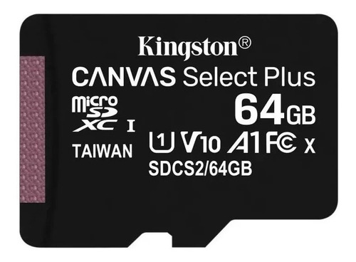 Micro Sd Kingston Canvas Select 64gb Clase 10 100 Mb Read Hd