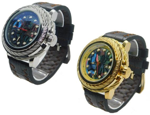 Relógio Masculino S1 Luxo De Pulso Couro+ Caixa Frete Gratis