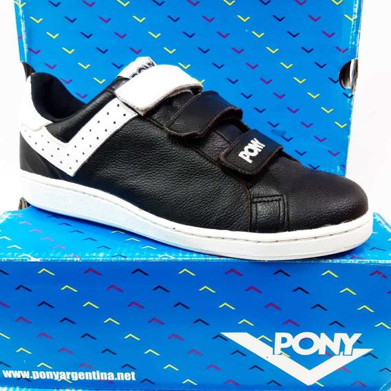 Zapatillas Pony Velcro Urbano Cuero Negro Blanco 316151