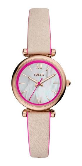 Reloj Dama Fossil Carlie Mini Es4833 Color Nude De Piel