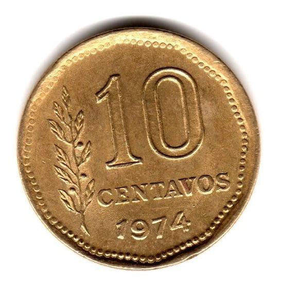 Moneda Argentina 10 Centavos 1974 Canto Fino Cj#346.1 Rara