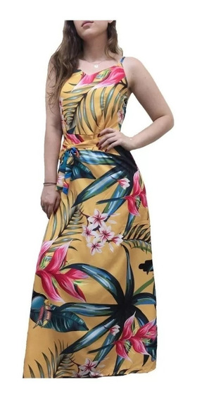 Vestido Longa Viscose Estampa Flores Com Alça Verão Linda