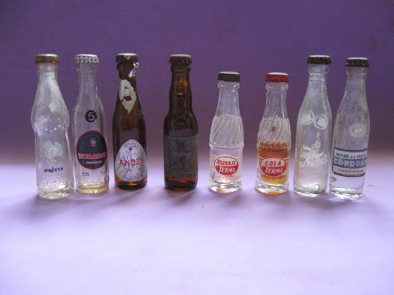 Lote De 8 Botellas Miniaturas De Cerveza, Gaseosa. Botella
