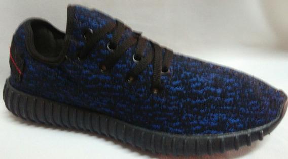 Tenis Stir Preto/azul Em Tecido Super Leve Confortável