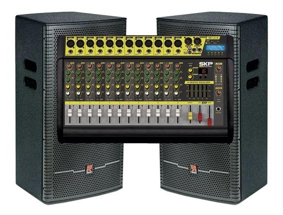 Kit 2 Caixa Passiva Staner 15pol. + Mesa Amplificada Vz120