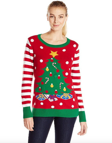 Sweater Navidad Mujer Ugly Sweater Mujer Arbol Luz Led