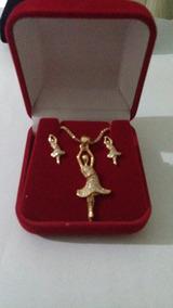 Conjunto Semi-jóia Bailarina Banhado A Ouro