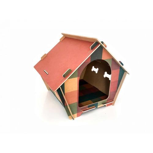 Casa Mdf Impresso Xadrez Com Teto Rosa - 2g