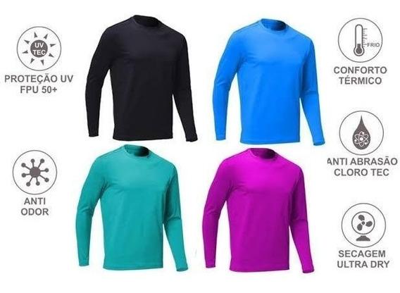 3 Camiseta Com Proteção Solar Manga Longa Uv50 Frete Grátis