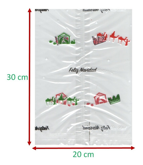 50 Bolsas Celofán Navideñas. Transparentes. 20x30 Cm