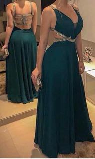 Vestido Azul Marinho Bordado Pedras Longo Festa