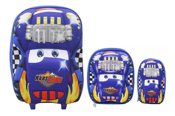 Mochila Infantil Carros Rodinhas Kit Com Lancheira E Estojo